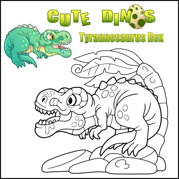 Silhouette Of The T Rex Dinosaur Outline Illüstrasyonlar Ve Vektör