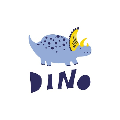 Cute Dinosaur vector illustration in flat style. For poster, t-shirt, wallpaper, card.