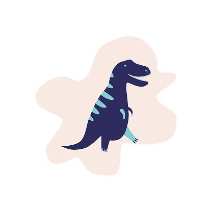 Cute Dinosaur vector illustration in flat style. Tyrannosaur. For poster, t-shirt, wallpaper, card.