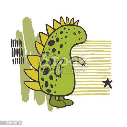 istock Cute dinosaur. Vector sketch  illustration. 1215645709