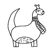 istock Cute dinosaur with a scarf, vector illustration 1313643958