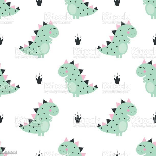 Cute dinosaur with crowns seamless pattern on white background vector id801786098?b=1&k=6&m=801786098&s=612x612&h=dujeapyhe9ixsjucwxsdsflyl1tu6pti0cqexxdfs8y=