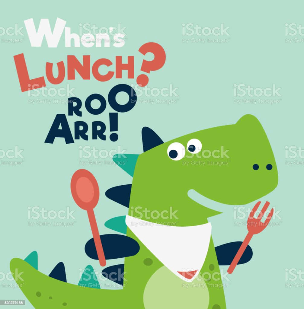 Cute dinosaur with spoon and fork vector art illustration