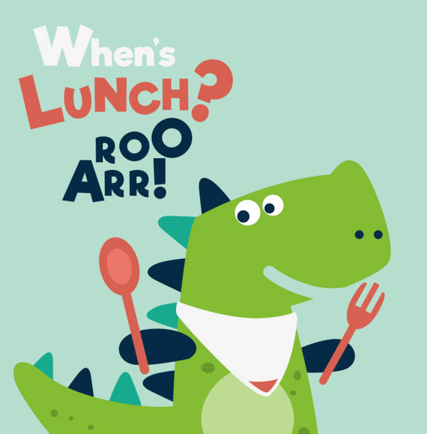 Cute dinosaur with spoon and fork Cute dinosaur with spoon and fork hungry child stock illustrations