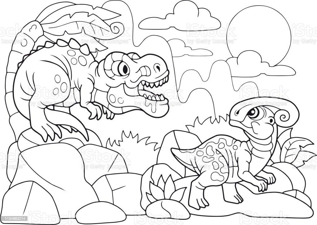 Sevimli Dinozorlar Kitap Boyama Komik Illustrasyon Stok Vektor