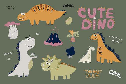 Cute dinosaurs set scandinavian style hand drawn