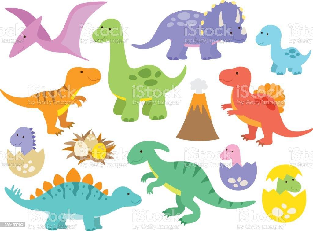 Cute Dinosaurs vector art illustration