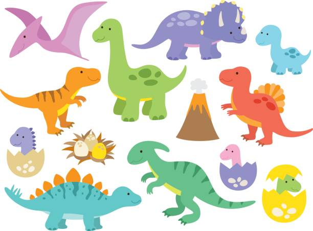 cute dinosaurs - dinosaur stock illustrations, clip art, cartoons, & icons