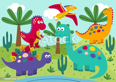 cute dinosaurs with landscape background