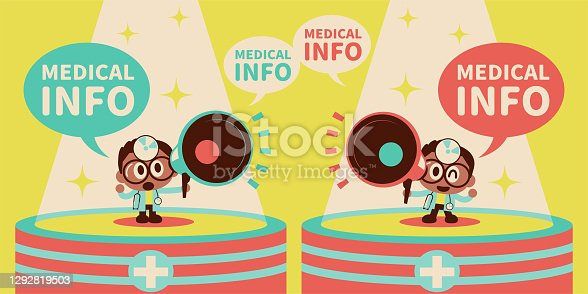 istock Cute doctor wearing concave mirror and stethoscope talking with a megaphone standing on stage in the spotlight 1292819503