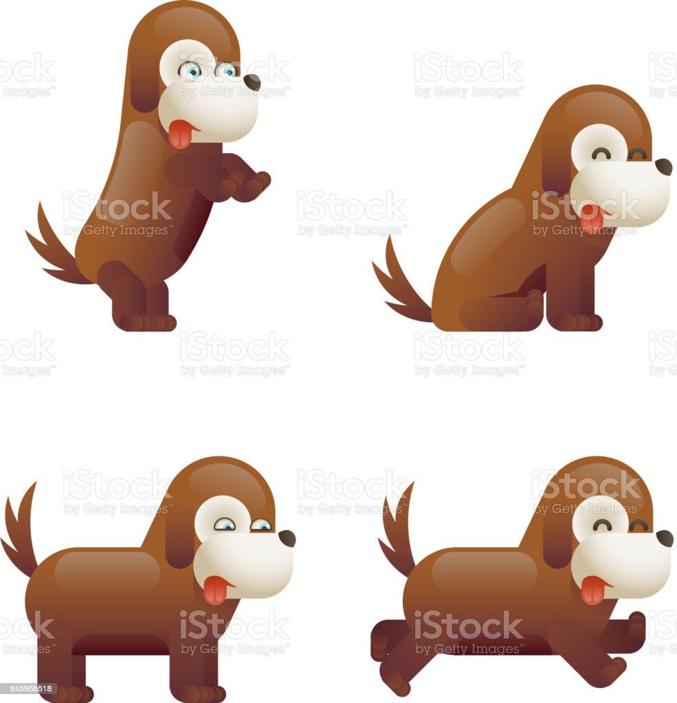 Sevimli Köpek 3d çizgi Film Karakteri Izole Vektör çizim Stok Vektör