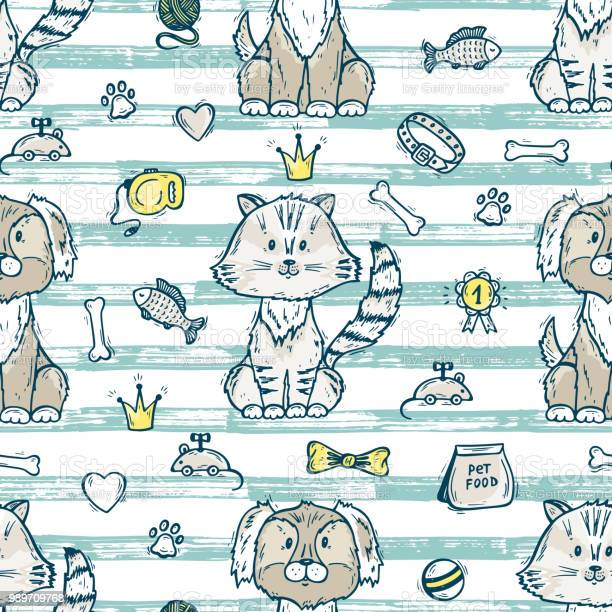 Cute dog and cat together vector seamless pattern with hand drawn vector id989709768?b=1&k=6&m=989709768&s=612x612&h=uq od5uhpmsks2mwzmf07z5cdcqfxllx6qb4a75tih8=