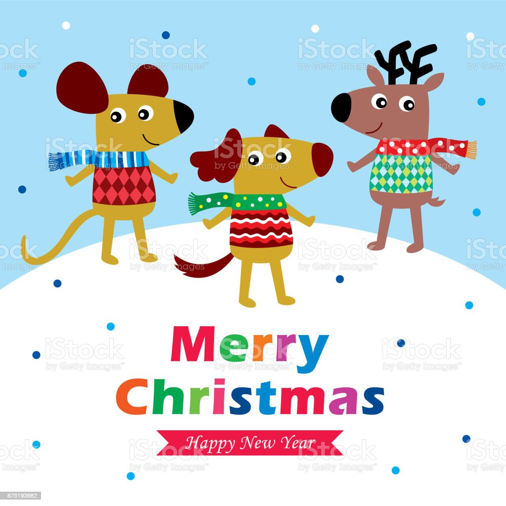 Cute Dog And Friends Merry Christmas Greeting Card Vector Stock