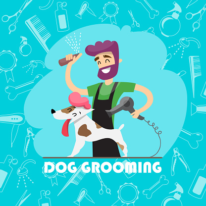 Cute dog at groomer salon and set of icons