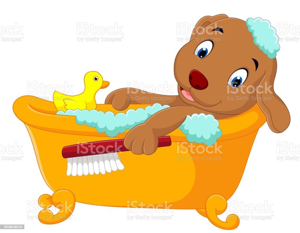 cute dog bathing time vector art illustration