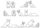 cute dog border line art