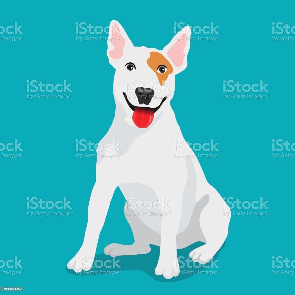 Cute dog Bull-terrier breed vector art illustration