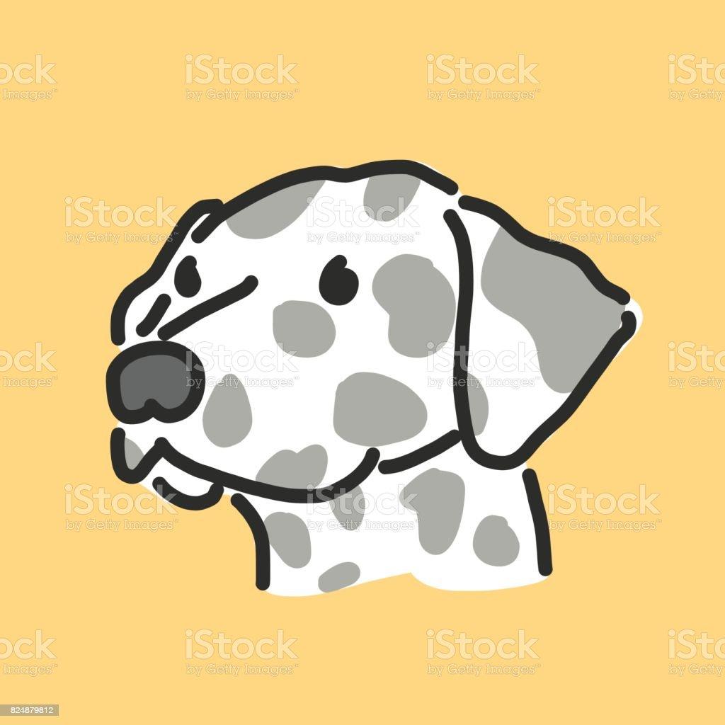 Sevimli Köpek çizgi Film Elle çizilmiş çizgi çizme Vektör çizim Stok