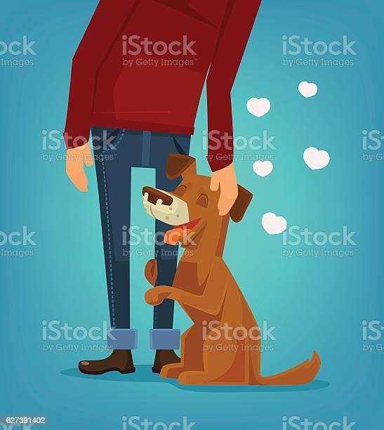 Cute dog character hug his owner vector flat cartoon illustration vector id627391402?b=1&k=6&m=627391402&s=612x612&h=875euencjlrstwwb 5kiundgeex8regmftar6b tuto=