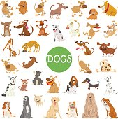 Cartoon Illustration of Cute Dogs Pet Animal Characters Big Set