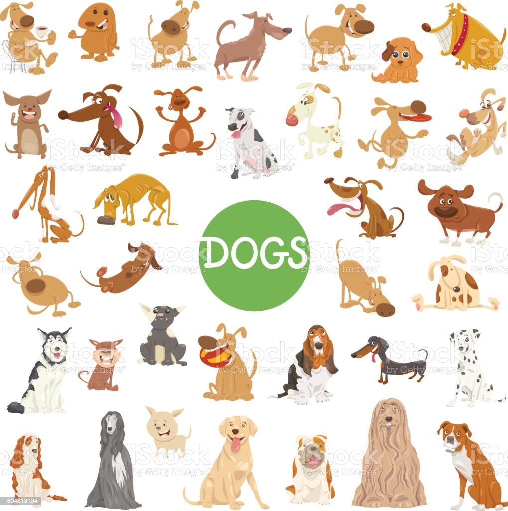 cute dog characters big set vector art illustration
