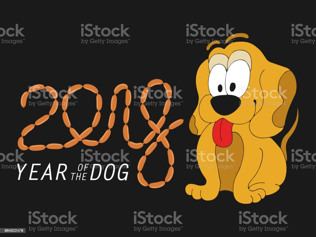 Cute Dog Dreams Of A Sausage Stylized Font 2018 Christmas Card With