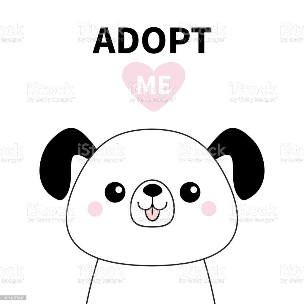 Ilustración De Silueta De Línea Cara Perro Lindo Adoptame Corazón De
