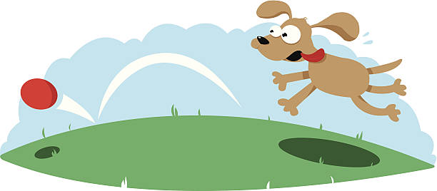 Cute Dog Following a Ball vector art illustration