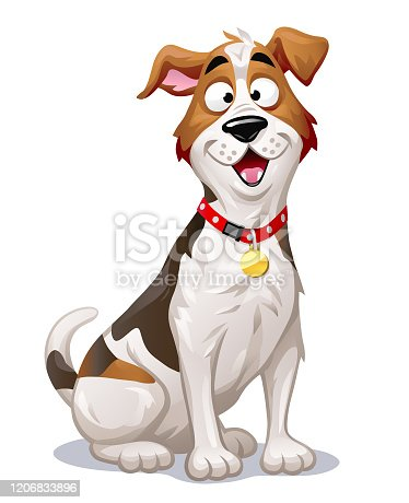 Vector illustration of a cheerful Jack Russell Terrier with its mouth open, looking at the camera, isolated on white.