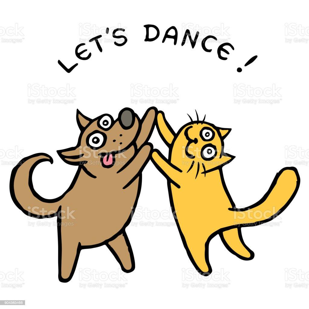Sevimli Köpek Kik Ve Kedi Tik Dansçılar Vektör çizim Stok Vektör