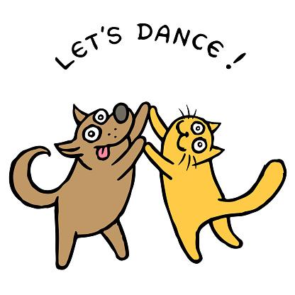 Cute dog Kik and cat Tik dancers. Vector illustration