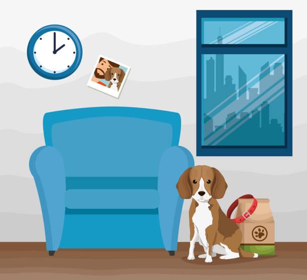 ilustrações de stock, clip art, desenhos animados e ícones de cute dog mascot in workplace - lata comida gato