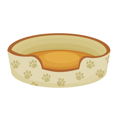 Cute dog or cat bed decorated with paw pattern in cartoon style isolated on white background. Pet accessory, comfortable crib, basket for rest. Vector illustration