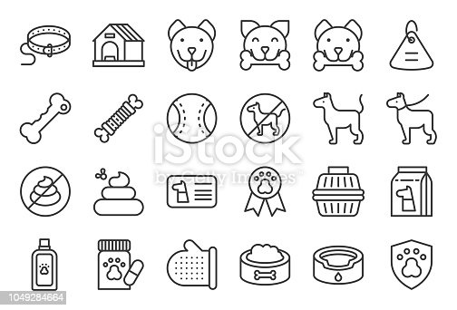 istock cute dog related icon set such as collar, pet not allowed sign, bowl, medicine, grooming equipment 1049284664