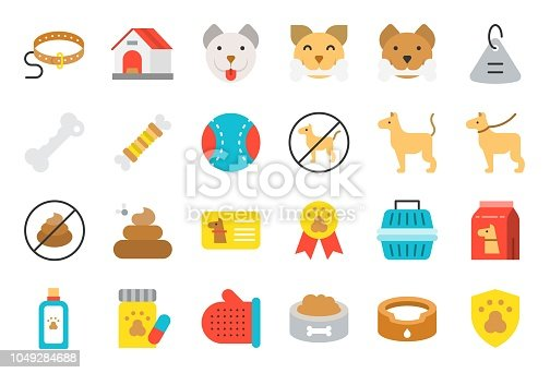 istock cute dog related icon set such as collar, pet not allowed sign, bowl, medicine, grooming equipment 1049284688