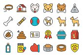 istock cute dog related icon set such as collar, pet not allowed sign, bowl, medicine, grooming equipment 1049284790