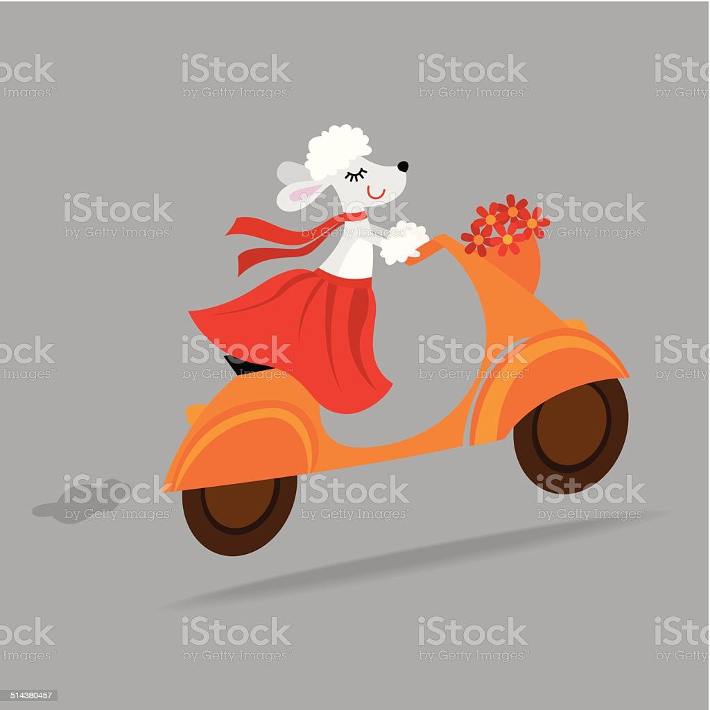 Cute dog riding a vespa scooter vector art illustration