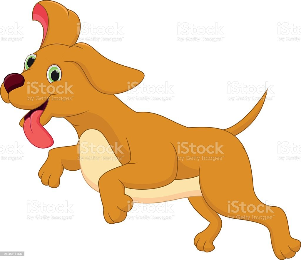 Cute Dog Running Stock Vector Art More Images Of Activity