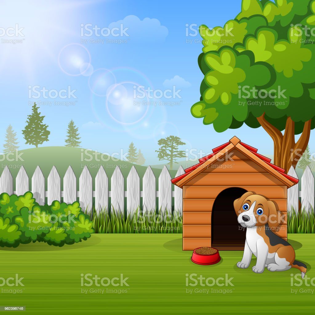 Cute dog sitting in front of a kennel in a garden vector art illustration