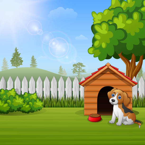 cute dog sitting in front of a kennel in a garden - square foot garden stock illustrations, clip art, cartoons, & icons