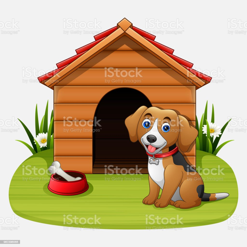 Cute dog sitting in front of kennel vector art illustration