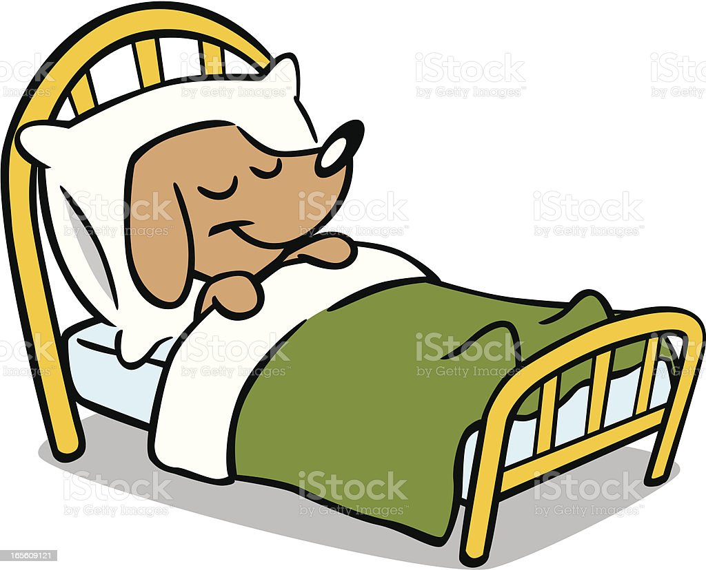 royalty free dog sleeping in bed clip art vector images rh istockphoto com sleeping dog animated clipart dog sleeping in bed clipart