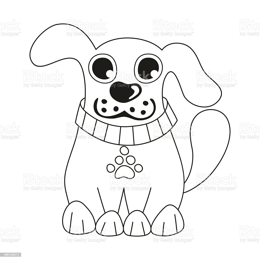 Ilustración de Linda Perro Usando Mascotas Collar Con Pata Tag Libro ...