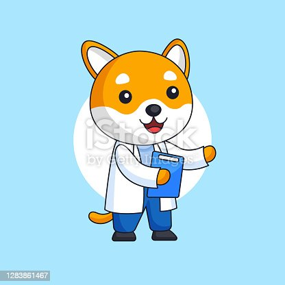 istock Cute dog wearing white coat with clipboard vector illustration for doctor occupation hospital worker animal mascot character vector illustration cartoon design 1283861467