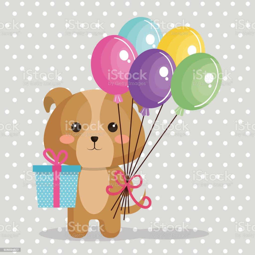 lindo perro con globos de aire tarjeta de cumpleaños de kawaii ilustración  de lindo perro con 89145dc0286