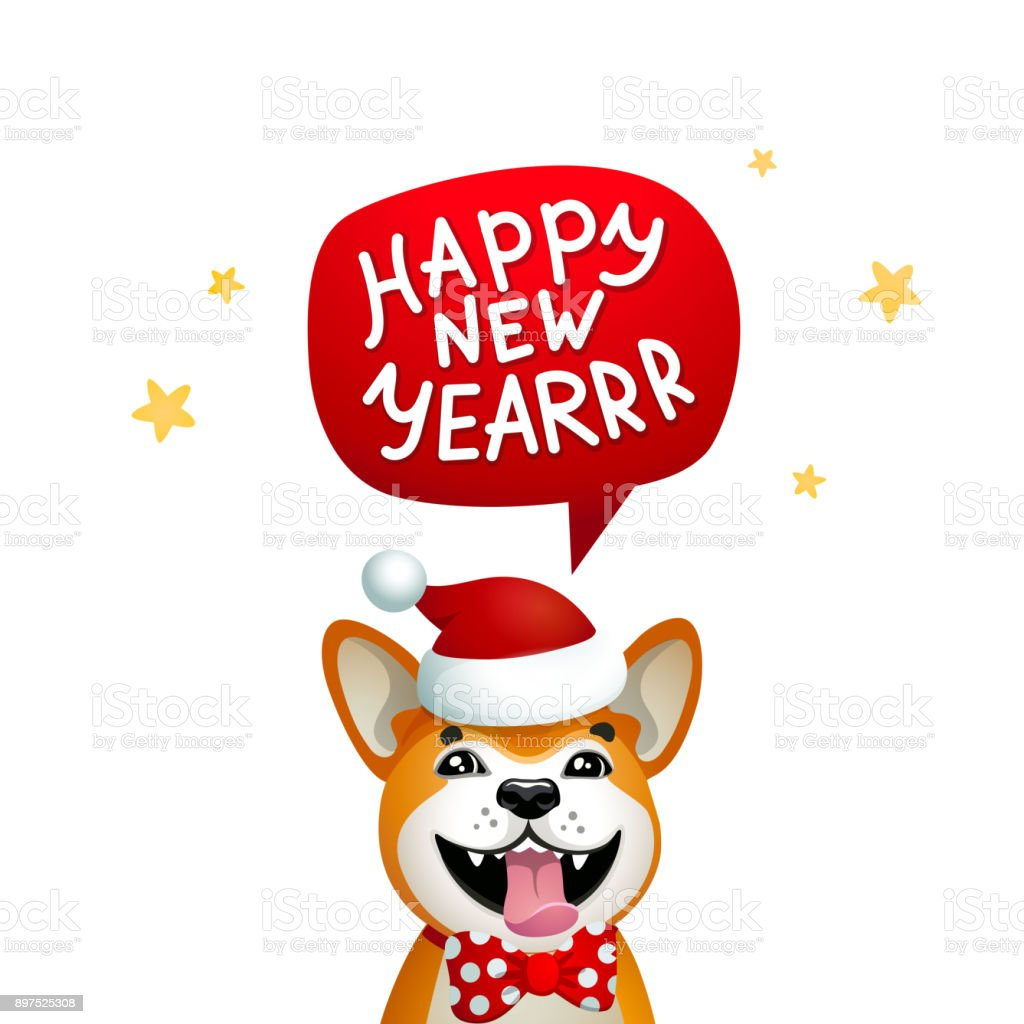 Cute Dog With Happy New Year Inscription Smiling Yellow Dog With ...