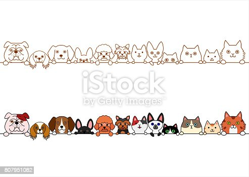 cute dogs and cats border set.