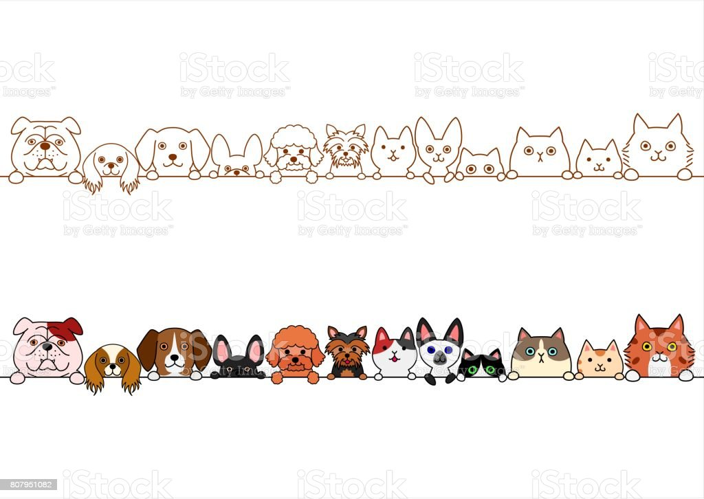 cute dogs and cats border set vector art illustration