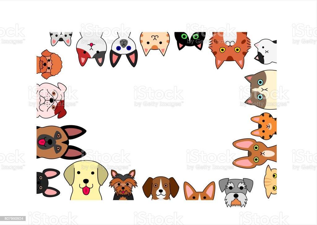 Ilustración de Lindo Marco De Rectángulo De Perros Y Gatos y más ...