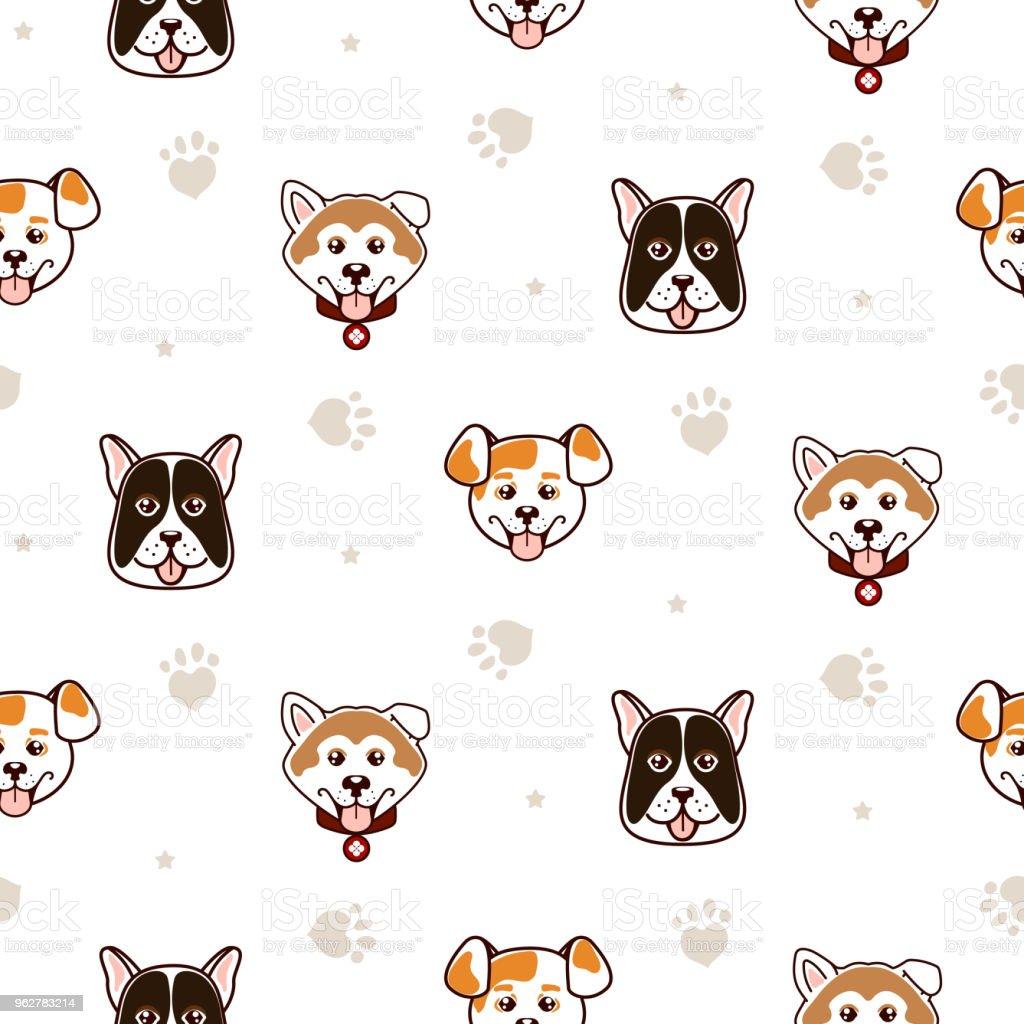 Cães bonito animal vetor sem costura padrão - Vetor de Akita Japonês royalty-free